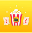 popcorn box two tickets with stars clapper board vector image vector image