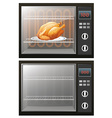 Roasted chicken in the electronic oven vector image vector image
