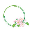 round green frame with apple-tree flowers vector image