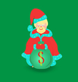 Santa Claus with Big Bag Isolated vector image