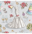 seamless texture with image wedding dresses vector image vector image