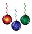 set glass christmas balls vector image vector image