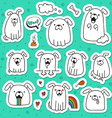 Set of 10 dogs doodle handmade stickers Dogs with vector image vector image
