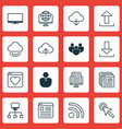 set of 16 world wide web icons includes send data vector image vector image