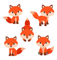 set of cute cartoon foxes in modern simple flat vector image vector image