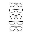 Set of glasses in black white vector image