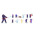 set people emergency workers male and female vector image vector image