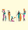 silhouettes native african people vector image vector image