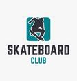 skateboard club modern design logo template vector image
