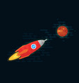 space vehicle flies to the planet mars vector image