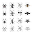 spider insect ant mosquito bee insect set vector image