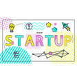 start up poster and icons set vector image vector image