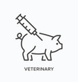veterinary flat line icon outline vector image