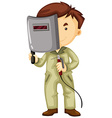 Welder in uniform and protection mask vector image