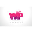 wp w p letter logo with pink purple color and vector image vector image