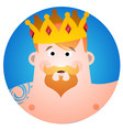 round sticker with a man in the crown cartoon for vector image
