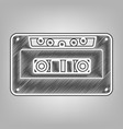 cassette icon audio tape sign pencil vector image