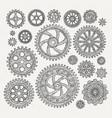 industrial set of mechanical metal vector image