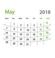 2018 funny original grid may creative calendar vector image vector image