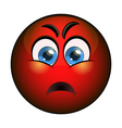 Angry red smiley emoticon vector image vector image