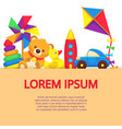 background with colorful cartoon kids toys vector image vector image