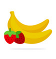 banana and strawberry flat material design vector image