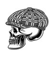 black and white a bully skull in cap vector image