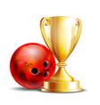bowling game award ball and golden cup vector image vector image