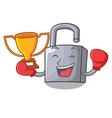 boxing winner new metal padlock isolated on mascot vector image