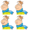 cartoon man with a scarf and coat emotions set vector image vector image