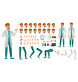 cartoon medicine doctor creation kit medical man vector image vector image