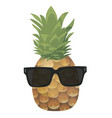 cartoon pineapple in glasses colorful print of vector image vector image
