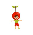 cheerful little boy in headwear in form of red vector image