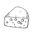 cheese in engraving style design element for logo vector image vector image