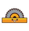 circular blade saw cute kawaii cartoon vector image