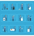 Cleaning people flat icons vector image vector image