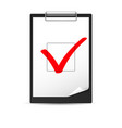 clipboard with checkmark of designer on white vector image vector image