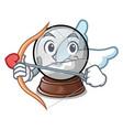 cupid snow globe chrismas isolated on mascot vector image