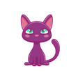 cute black kitten sitting and waiting vector image vector image