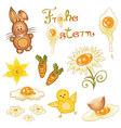 Easter bunny chick vector image vector image