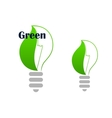 Ecology green light bulb with leaf