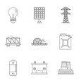 electricity industry icon set outline style vector image vector image