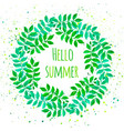 elegant floral wreath with green leaves vector image