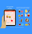 fast food love stickers on chat application vector image vector image