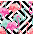 flamingo watercolor pattern geometric background vector image vector image