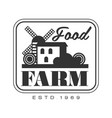 food farm product estd 1969 logo black and white vector image vector image