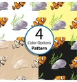 Four Options Seamless Pattern With Tropical Fish vector image