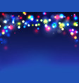 garlands on blue background diffuse lights vector image vector image