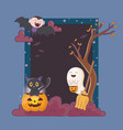 ghost pumpkin cat dracula frame celebration vector image