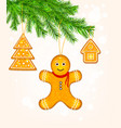 gingerbread cookies on christmas tree vector image vector image
